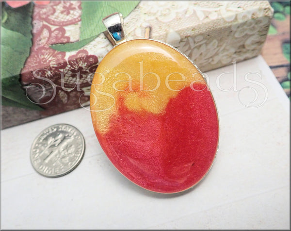 Peachy Yellow & Coral Pink Resin Pendant with Ball Chain