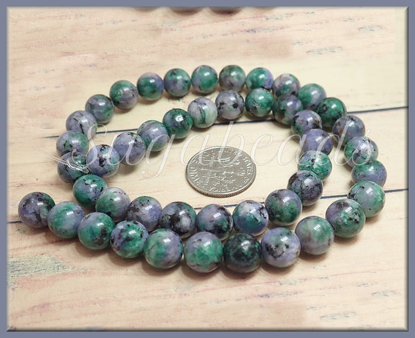 1 Strand Sesame Jasper Beads, Green Purple Stone Beads