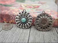 2 Daisy Flower Pendant, Antiqued Silver Flower Pendant with Faux Turquoise SB343