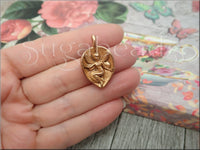 Green Girl Studios, Rose Gold Fairy Charm, Fairy Leaf Charm