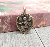 Green Girl Studios, Antiqued Bronze Fairy Charm, Fairy Leaf Charm