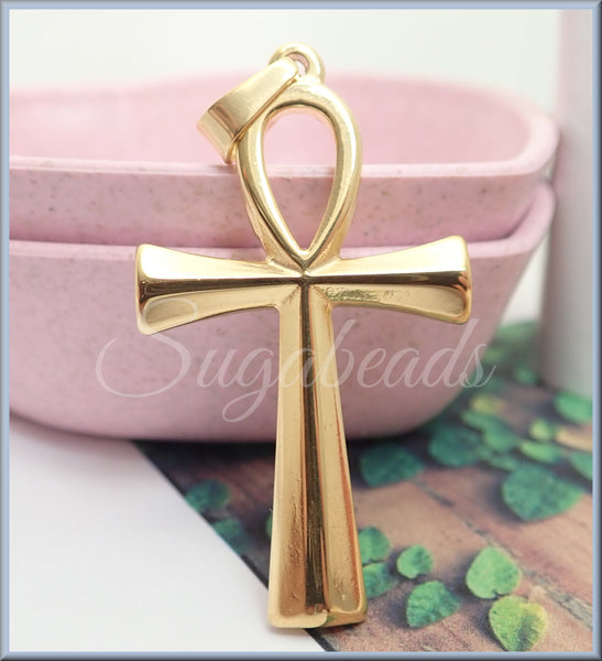 1 Stainless Steel Ankh in Gold Tone, Egyptian Ankh Pendant, Unisex Ankh Pendant