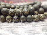 Metallic Czech Glass Beads, Druk Beads with Gold Wash & Picasso 8mm