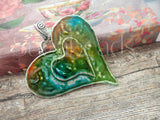 Large Weathered Multi Colored Heart Pendant, Altered Art Pendant