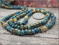Czech Glass Aged Seed Bead Mix 4/0 - 10 inch Strand - Blue Striped Picasso Beads