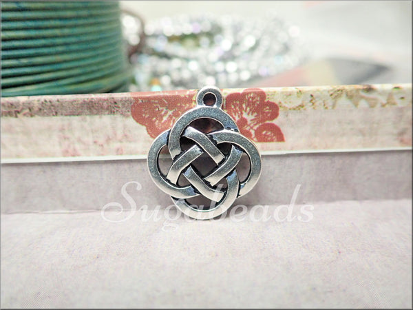 2 TierraCast Celtic Knot Pendants, Open Celtic Charms