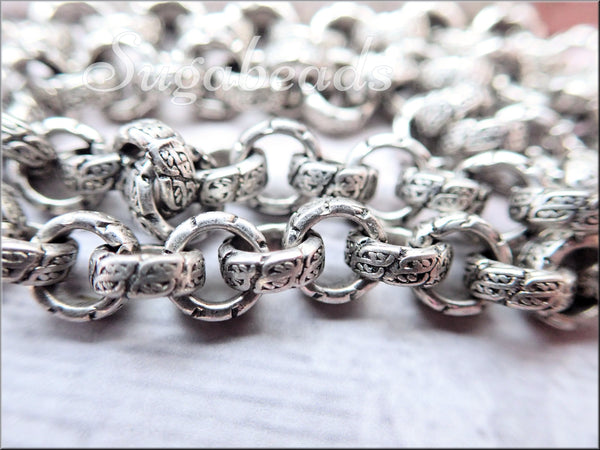 Antiqued Silver Rolo Chain, Etched Chain, Chain by the foot, Silver Brass Chain, Etched Rolo Chain, SBRC3