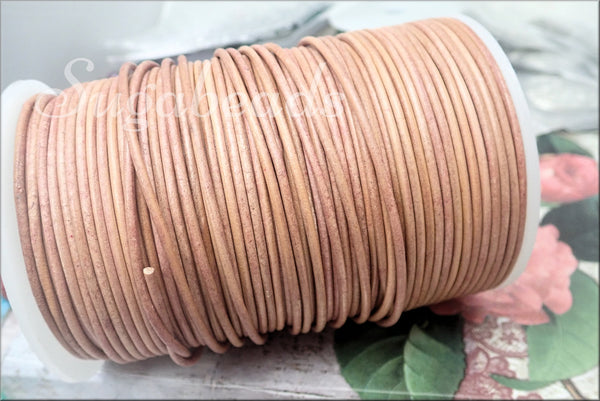 16 feet Light Tan Leather, Round 2mm Leather Cord, Natural Beige Leather Cord