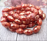 Burnt Orange with Gold Luster Czech Glass Oval Faceted Beads 12mm