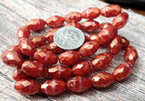6 Burnt Orange with Gold Luster Czech Glass Oval Faceted Beads 12mm