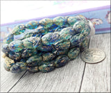 Faceted Sapphire and Teal w Picasso Finish, Czech Glass Oval Beads 12mm