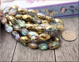 Gold AB Etched Czech Glass Oval Beads 12mm