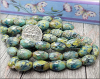 Faceted Oval Sea Green and Blue Czech Glass Beads with Picasso Finish