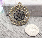 White gold and Black Pentagram Pendants