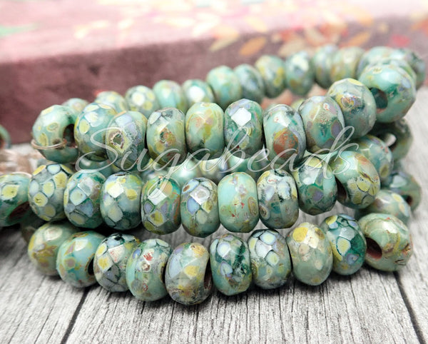10 Czech Glass Sea Green w Picasso Roller Beads, Large Hole Beads