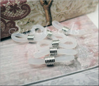 20 Rubber Loop End Connectors, White Rubber loops with Silver tone coil