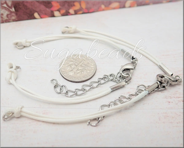 5 Double Strand White Bracelet Cords, Connector Bracelet Cords, FBC5
