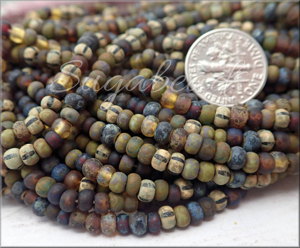 Woodland Mix, 6/0 Aged Matte Striped Picasso Seed Beads, CZBB30