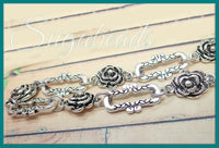 3 feet Antiqued Silver Bulk Chain with Roses - Large link Chain Flower Chain FC1 - sugabeads