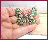 Gold tone Crystal Butterfly Pin, Pink, Green, Opal Crystal Butterfly Brooch