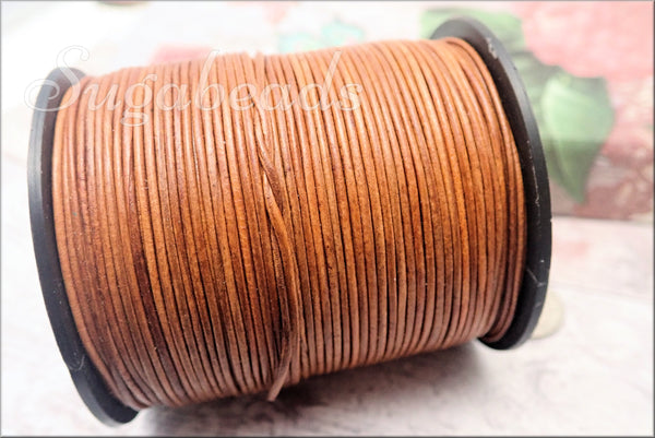 Natural Light Brown Leather Cord, 16ft Leather, Soft Round Leather Cord, 1mm Leather Cord