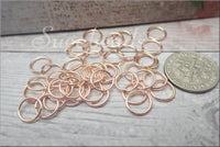 100 Rose Gold Jump Rings, 8mm Open Jump Rings, Rose Gold 8mm Jump Rings