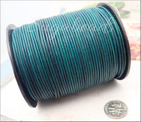 16 Feet Blue Green Turquoise Leather Cord 1.5mm
