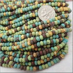 20 Inch Strand 6/0 Aged Seed Beads, Mixed Matte Picasso Seed Beads, CZBB31