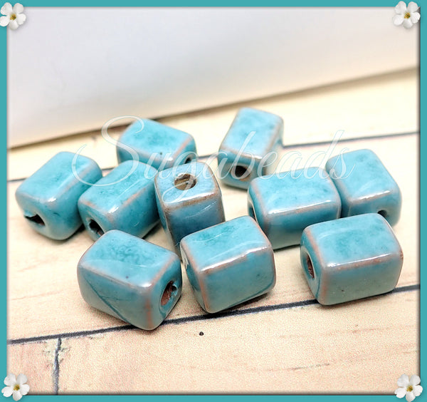 6 Turquoise Ceramic Beads, Rectangle Ceramic Tube Beads 8mm x 10mm