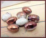 2 Raku Ceramic Beads - 18mm x 9mm Oval Terracotta beads