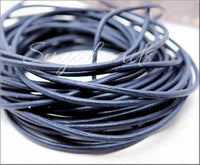 Blue Leather Cord, Round Leather Cord, 16 Feet Leather, 1.5mm thick
