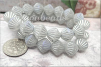 Czech Glass Tribal Bicone Beads 11mm, Silver Metallic AB Finish, Etched Czech Glass Beads