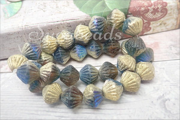 Czech Glass Tribal Bicone Beads 11mm, Metallic in Teal, Green and Yellow, Etched Czech Glass Beads