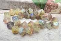 Czech Glass Tribal Bicone Beads 11mm, AB Finish, Etched Czech Glass Beads, Copper, White, Yellow