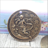 Antiqued Brass Lady on the Moon Pendant, Crescent Moon Pendant