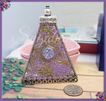 Purple Art Pendant, Embellished Metal Pendant -SBHM1