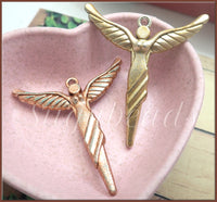 3 Winged Angels, Goddess Pendants, Angel Pendants, Gold, Bronze, Copper