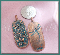 Green Girl Studios Dragonfly Pendant, Antiqued Copper with Faux Patina Lotus Pendant