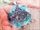 1 Altered Art Tree Pendant, Alcohol Ink Pendant in Teal and Silver