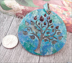 1 Altered Art Tree Pendant, Patina Paint Pendant in Blue Green