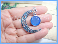 2 Crescent Moon Pendants, Blue Filigree Moon Pendant, Silvery Pearl Moon Pendant