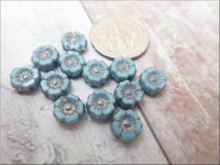Qty of 12 Czech Glass Hibiscus Flower beads, Turquoise Silk with Purple Luster Finish
