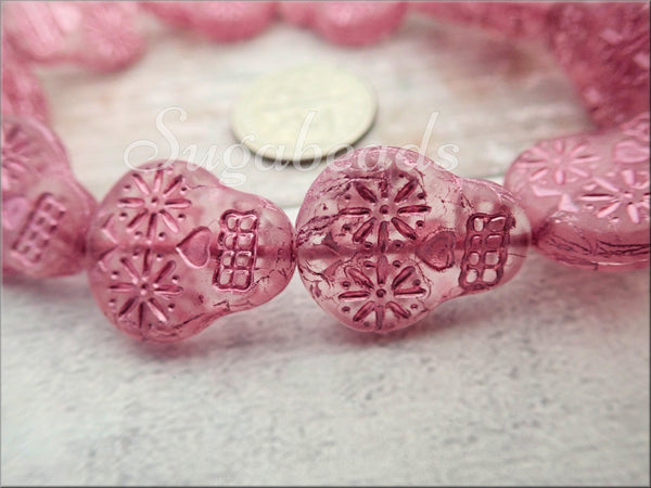 4 Pink Sugar Skull Beads, Transparent Pink with Metallic Wash Czech Glass Skull Beads