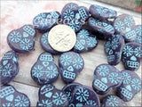 4 Sugar Skull Beads, Opaline Purple with Turquoise Wash Czech Glass Skull Beads