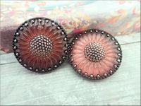 Czech Glass Button, Salmon Pink and Jet Black with Platinum Accent Paint 32mm