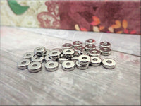 Flat Round 6mm Silver Tone Spacer Beads, SBSP370