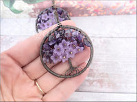 Amethyst Wire Wrapped Tree of Life Pendant, Copper wire wrapped Tree