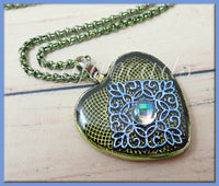 Enchanted Green Blue Heart Resin Pendant