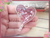 Pretty Pink and Silver Heart, Shattered Glass Resin Pendant