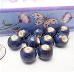 Classic Blue Ceramic Beads, Large hole Beads, 10mm Round Porcelain Beads
